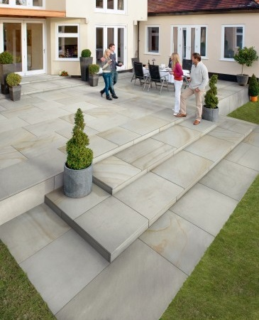 Natural Stone Steps and Patios beautify any outdoor living space.